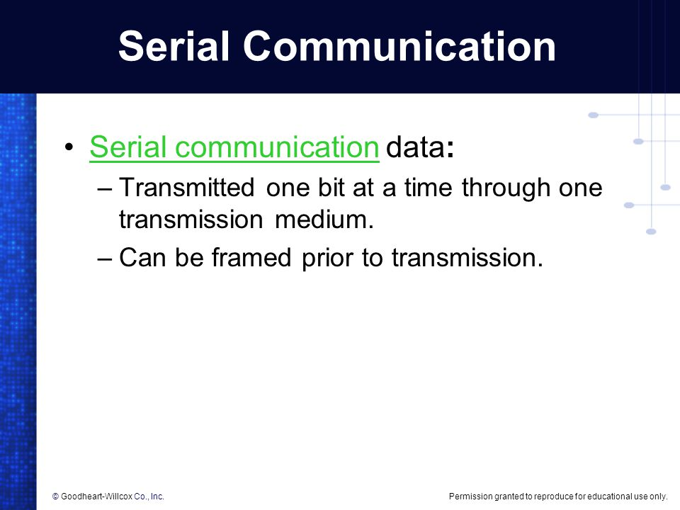 Serial Communication Serial communication data: