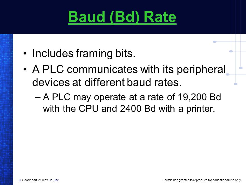 Baud (Bd) Rate Includes framing bits.