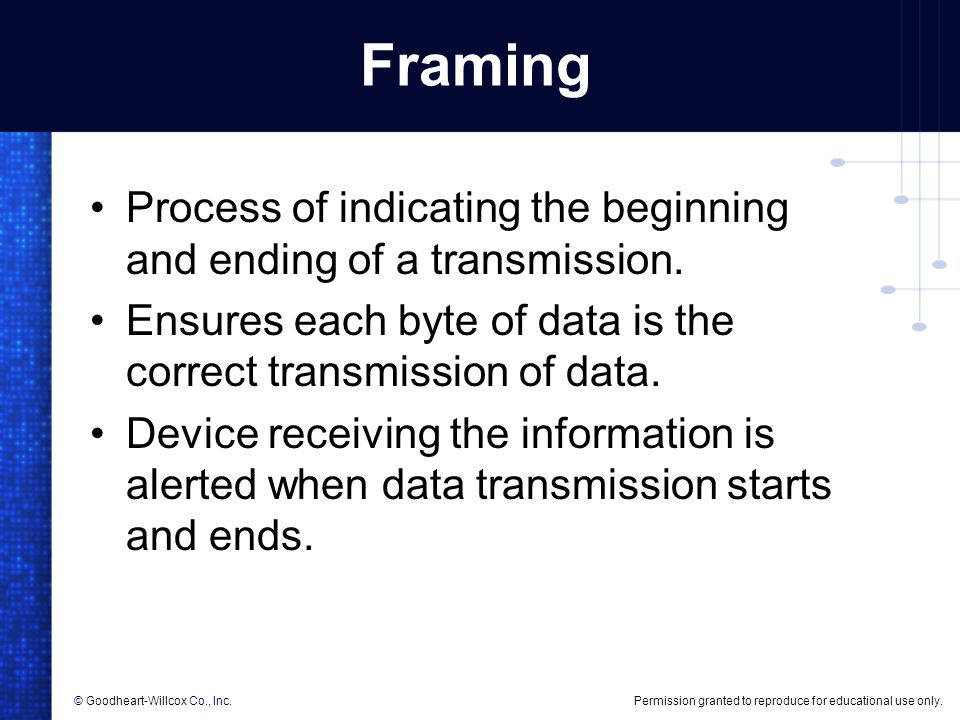 Framing Process of indicating the beginning and ending of a transmission. Ensures each byte of data is the correct transmission of data.