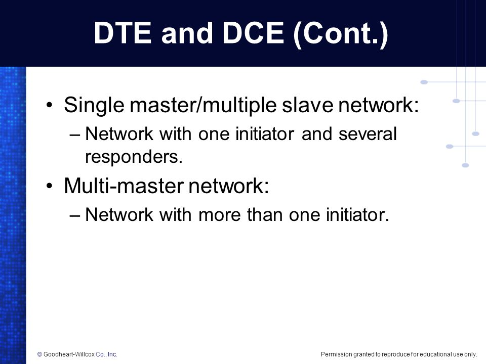 DTE and DCE (Cont.) Single master/multiple slave network: