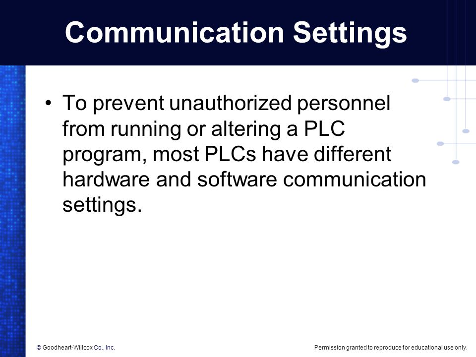 Communication Settings