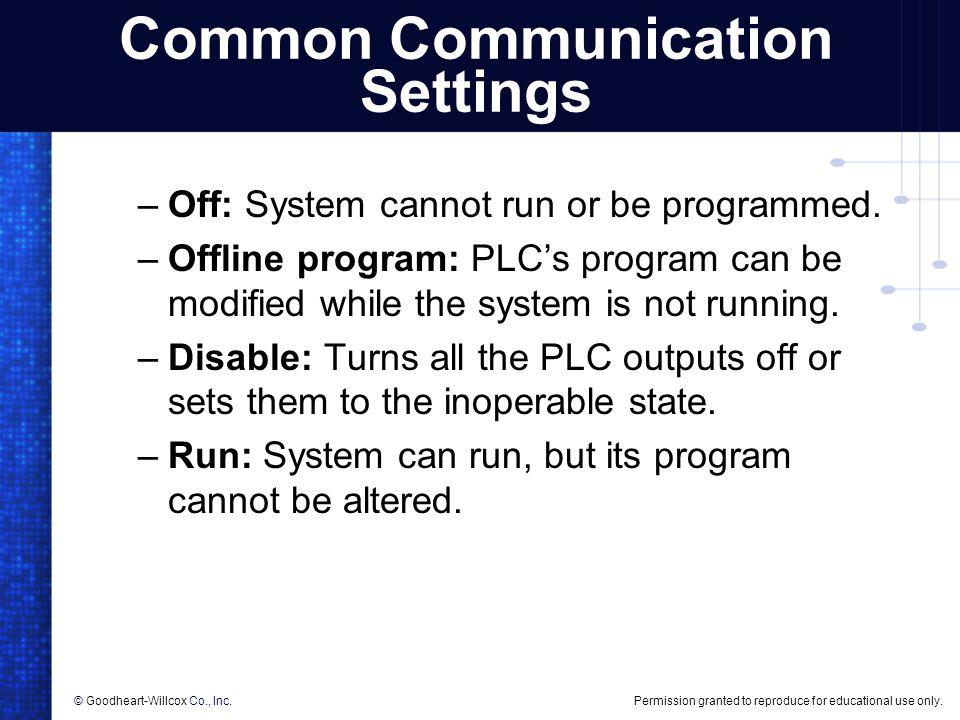 Common Communication Settings