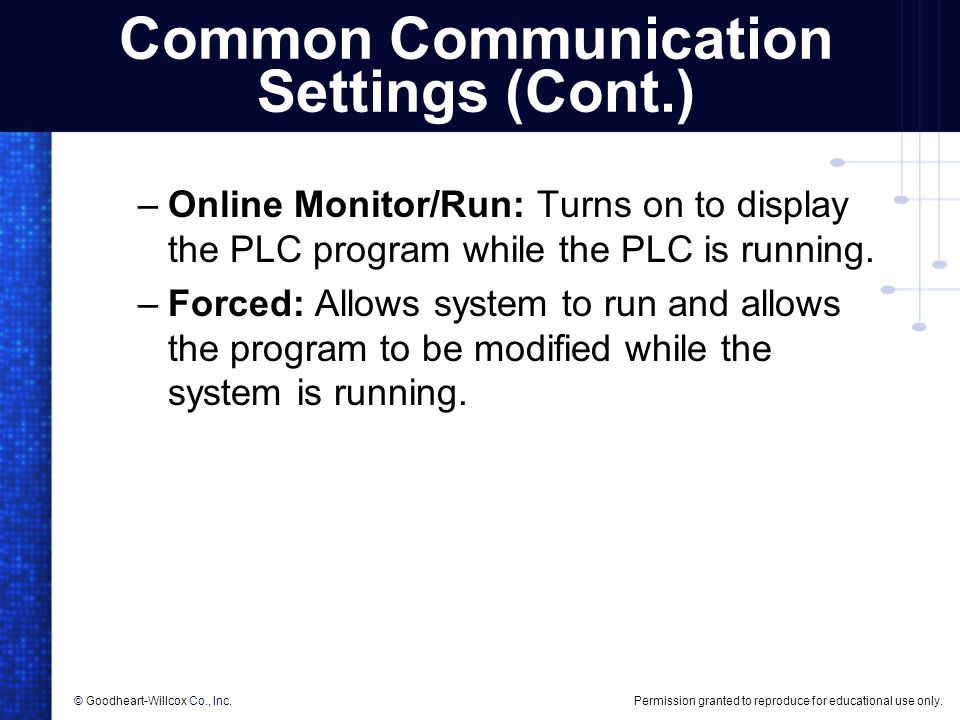 Common Communication Settings (Cont.)