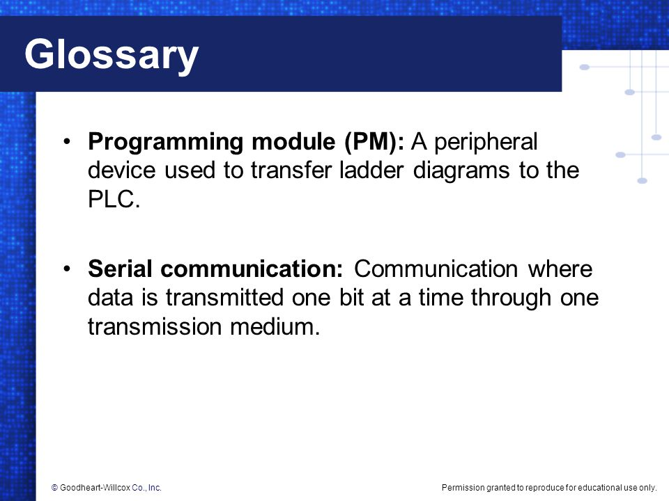 Glossary Programming module (PM): A peripheral device used to transfer ladder diagrams to the PLC.