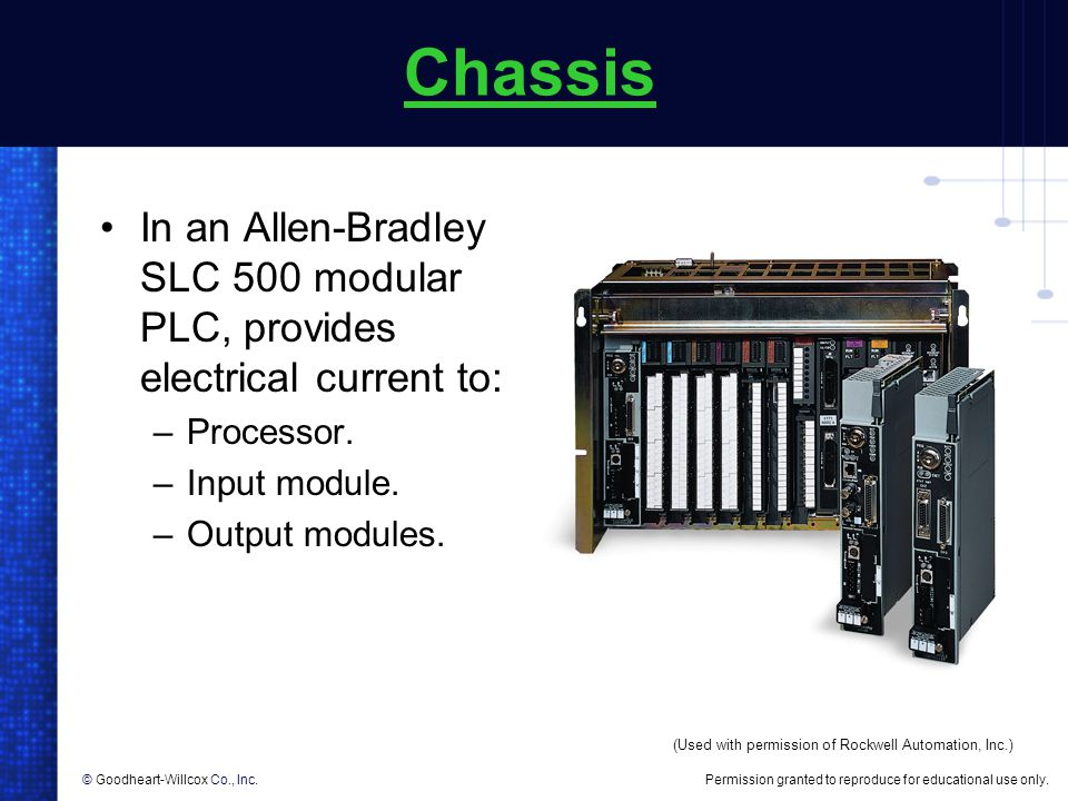 Chassis In an Allen-Bradley SLC 500 modular PLC, provides electrical current to: Processor. Input module.