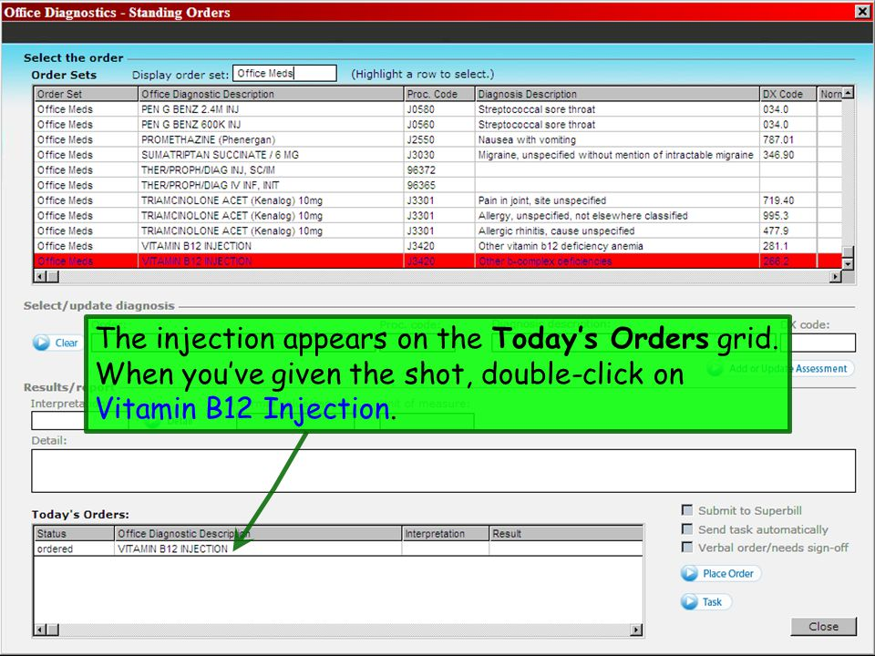 The injection appears on the Today's Orders grid.