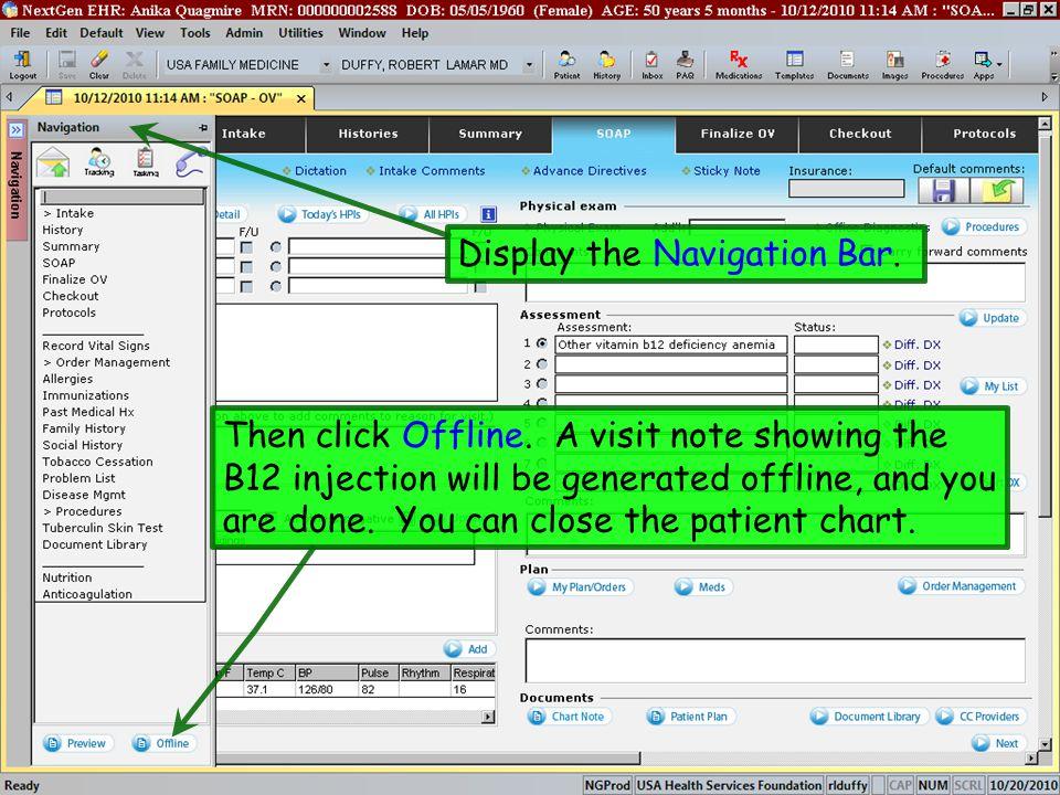 Display the Navigation Bar.