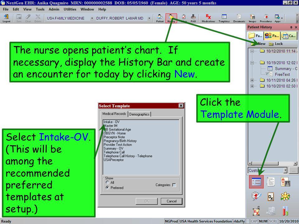 The nurse opens patient's chart