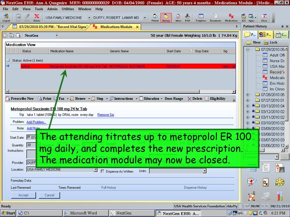 The attending titrates up to metoprolol ER 100 mg daily, and completes the new prescription.