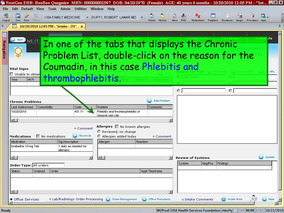 In one of the tabs that displays the Chronic Problem List, double-click on the reason for the Coumadin, in this case Phlebitis and thrombophlebitis.