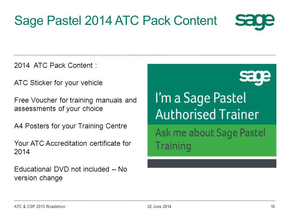 Sage Pastel 2014 ATC Pack Content