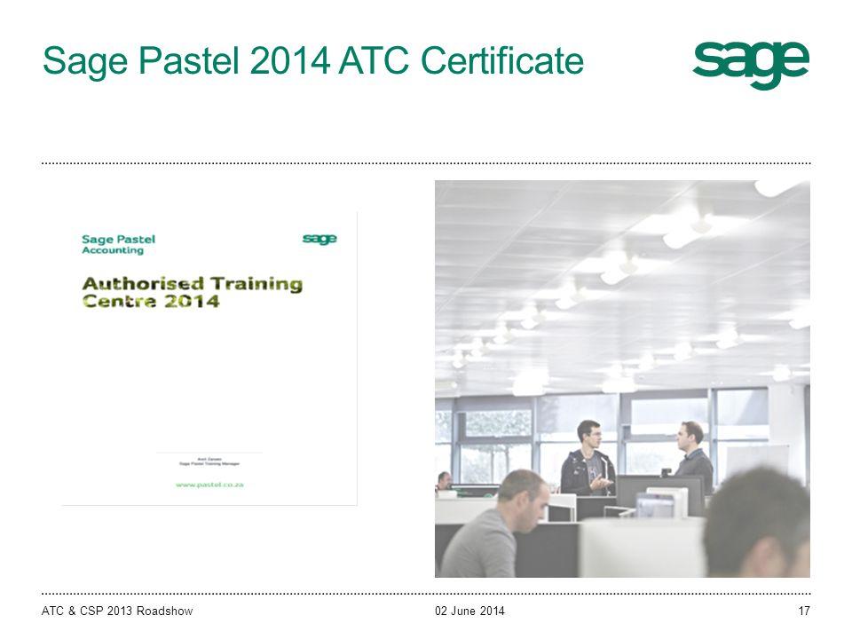 Sage Pastel 2014 ATC Certificate