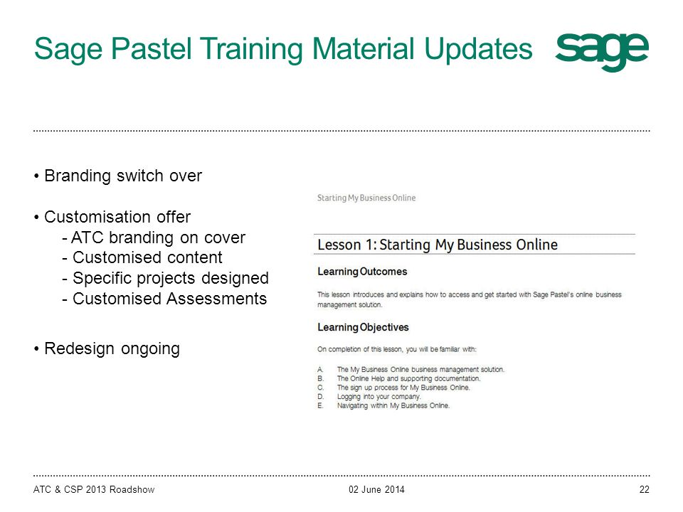 Sage Pastel Training Material Updates