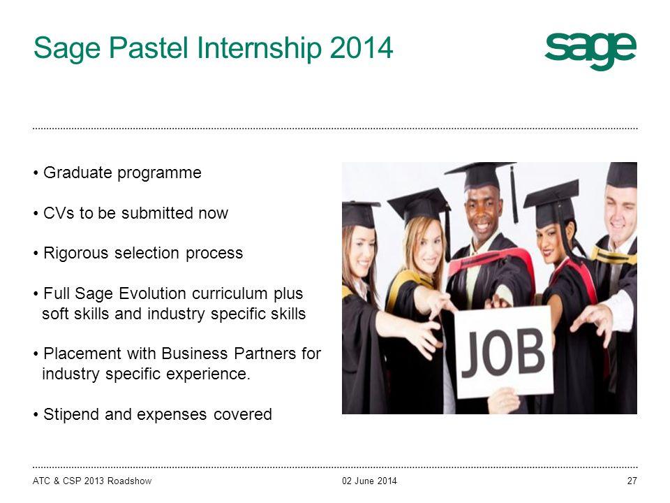 Sage Pastel Internship 2014