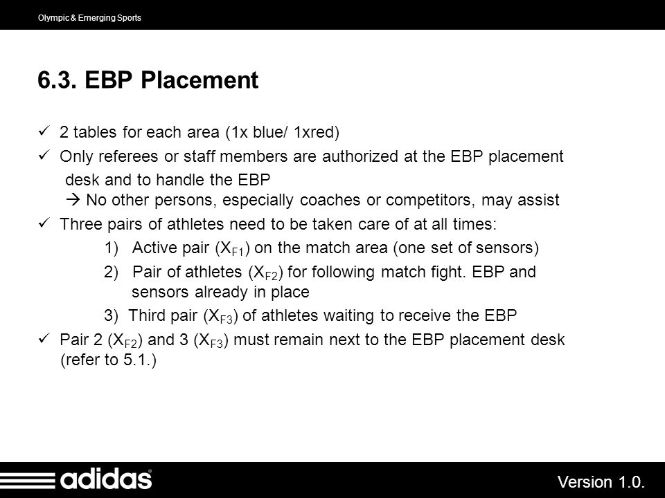 6.3. EBP Placement 2 tables for each area (1x blue/ 1xred)