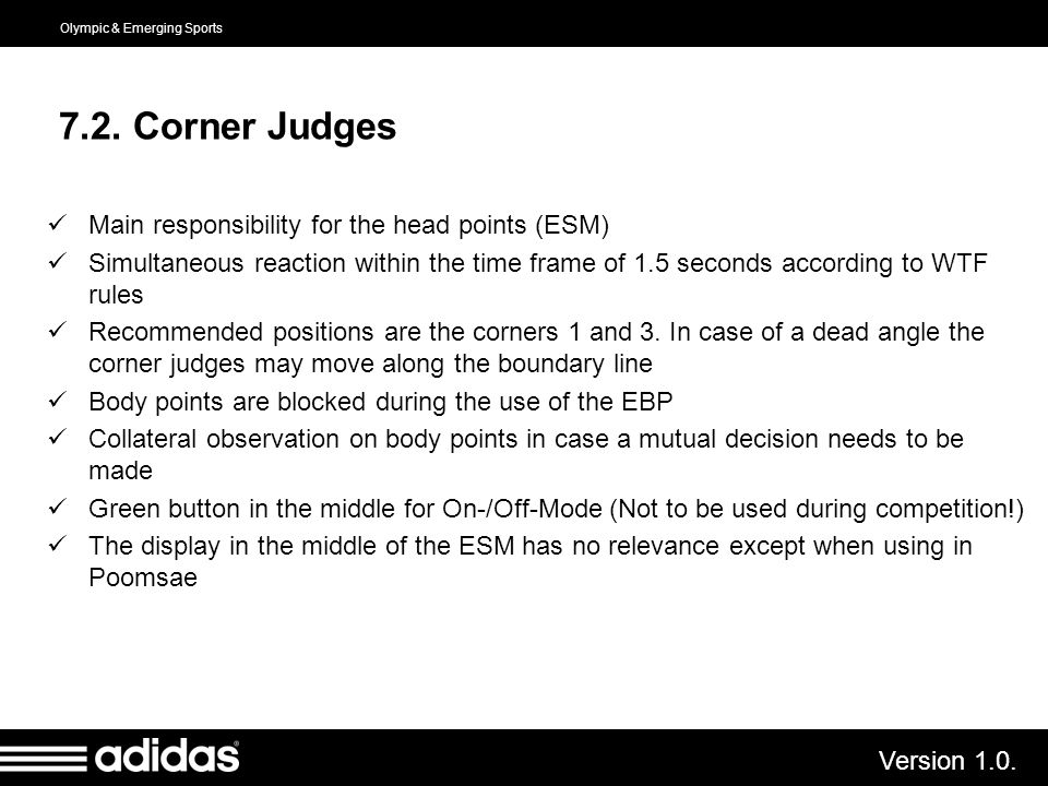7.2. Corner Judges Main responsibility for the head points (ESM)