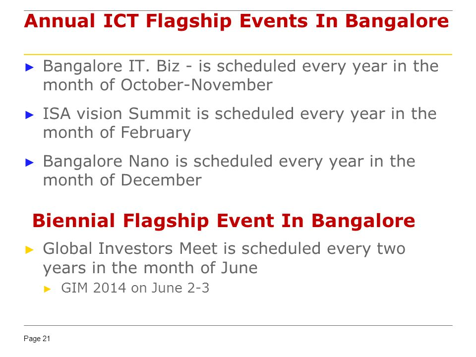 Annual ICT Flagship Events In Bangalore