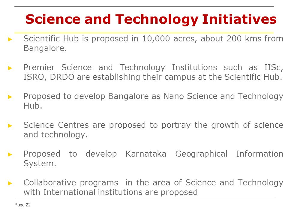 Science and Technology Initiatives
