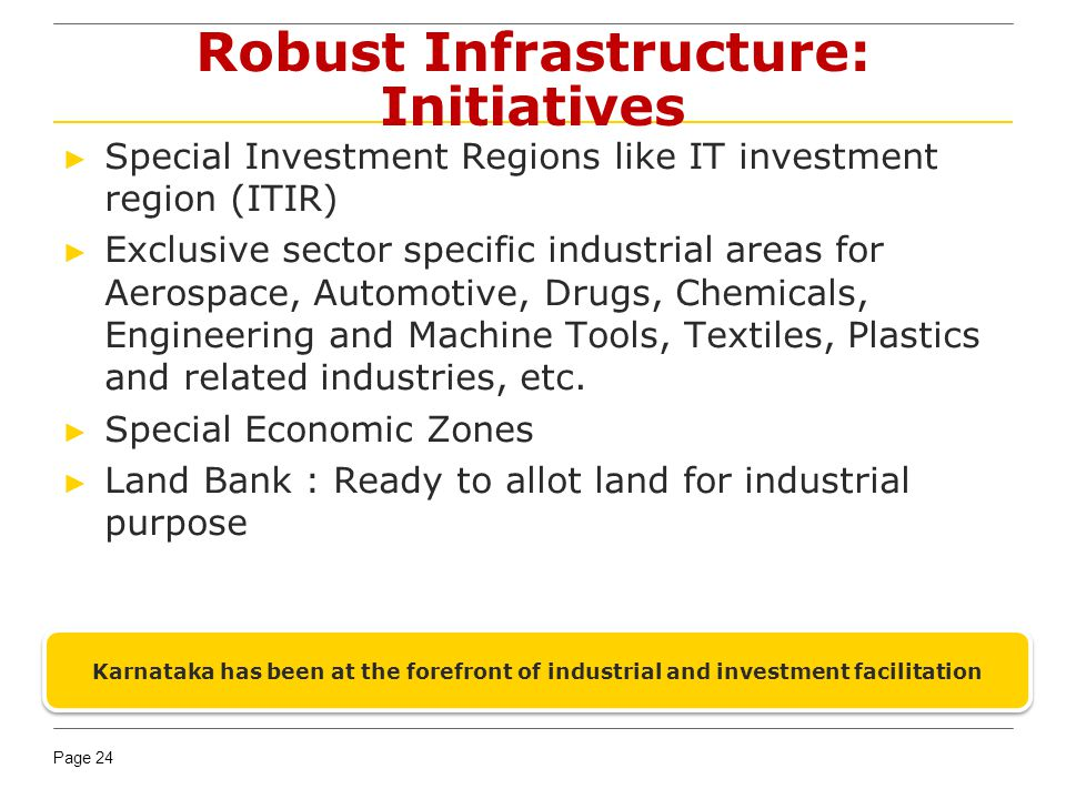 Robust Infrastructure: Initiatives