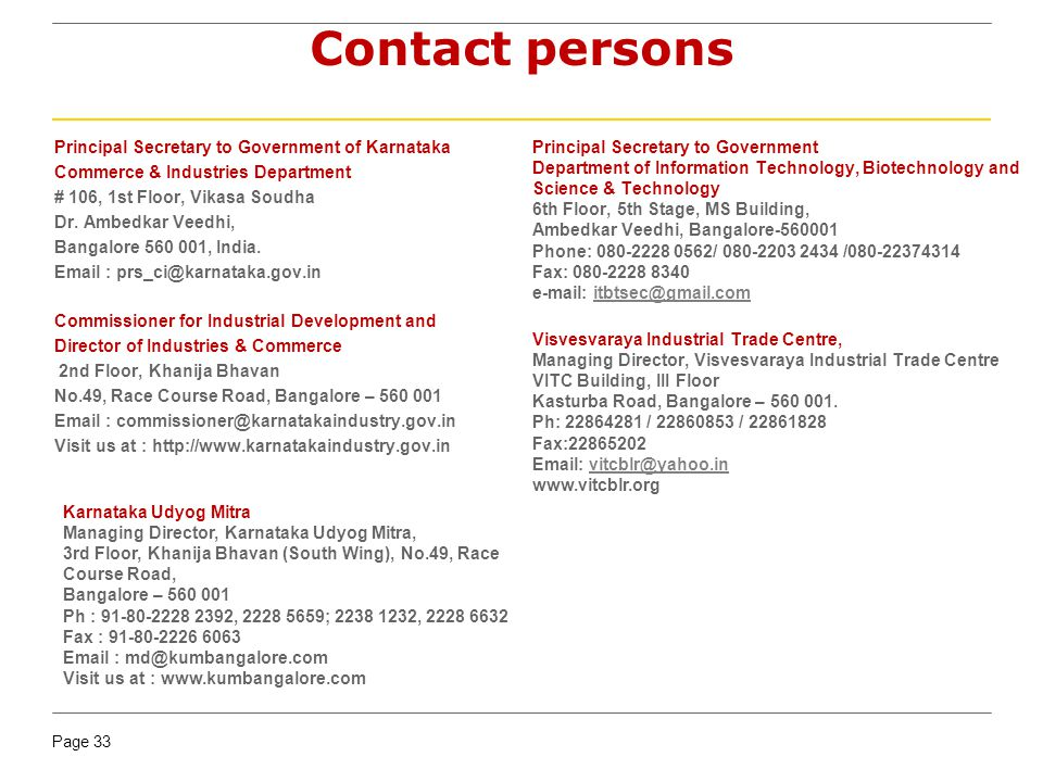 Contact persons Principal Secretary to Government of Karnataka