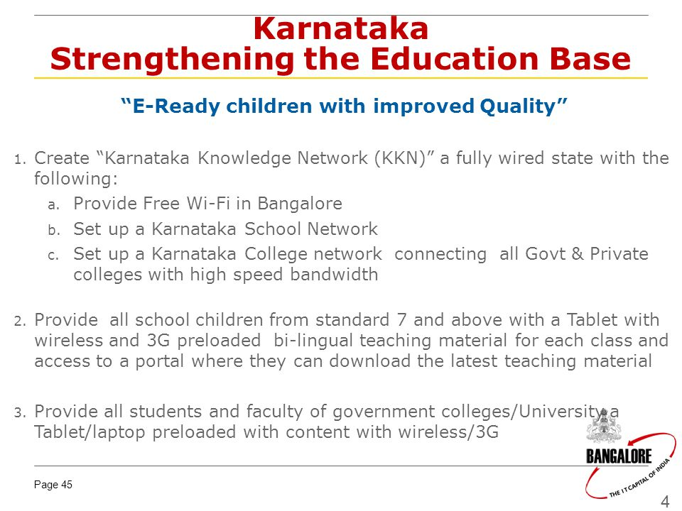 Karnataka Strengthening the Education Base
