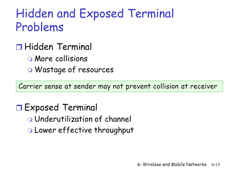 Hidden and Exposed Terminal Problems