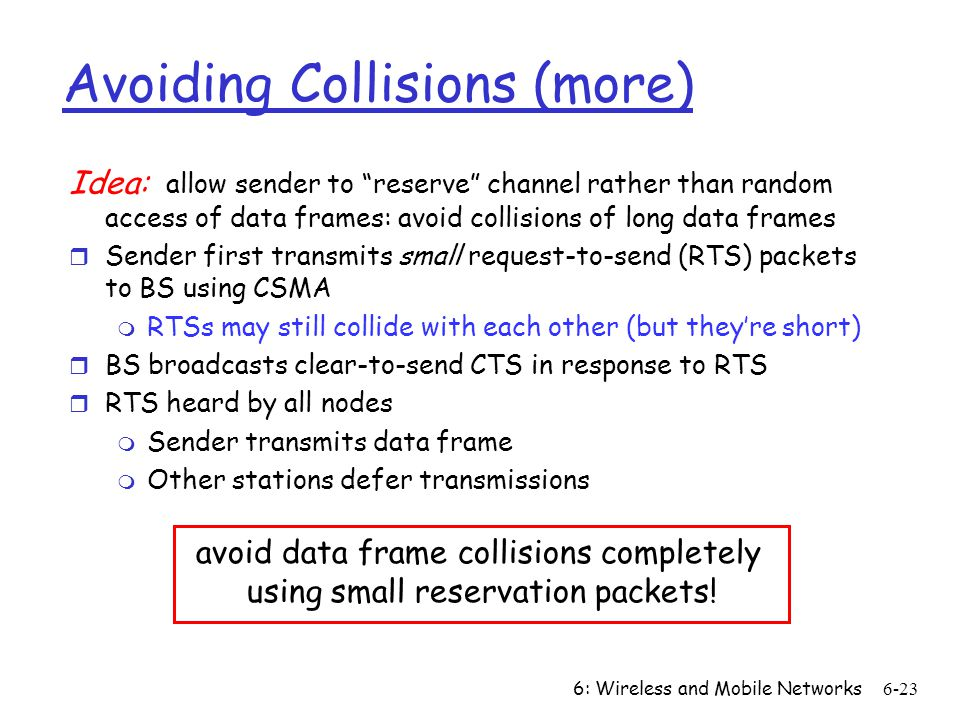 Avoiding Collisions (more)