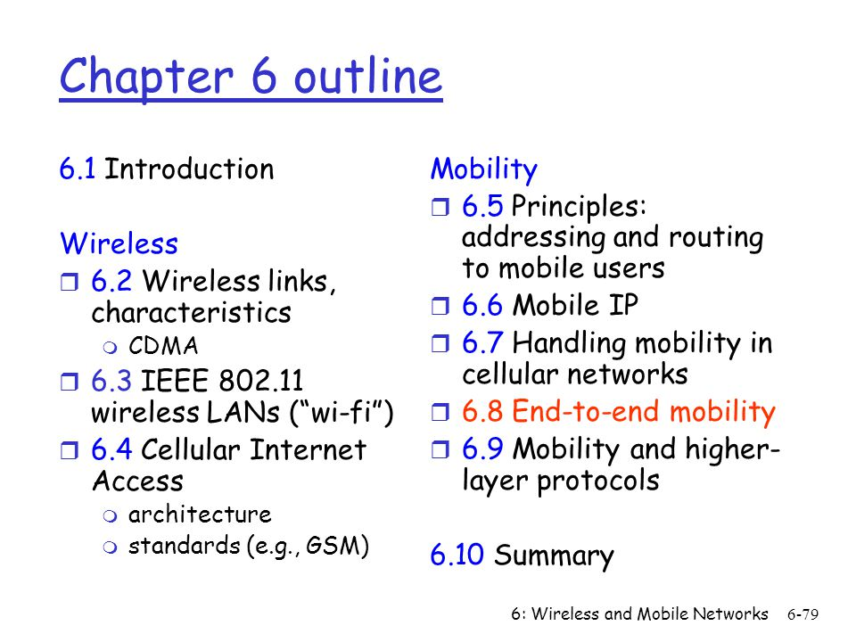 Chapter 6 outline 6.1 Introduction Wireless