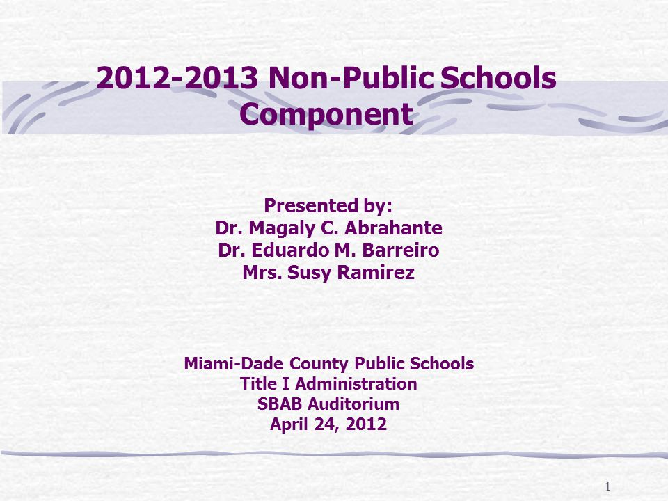 2012-2013 Non-Public Schools Component