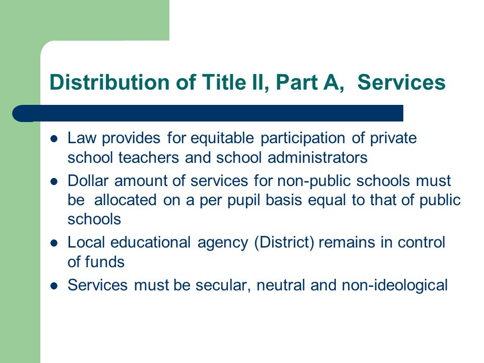 Distribution of Title II, Part A, Services