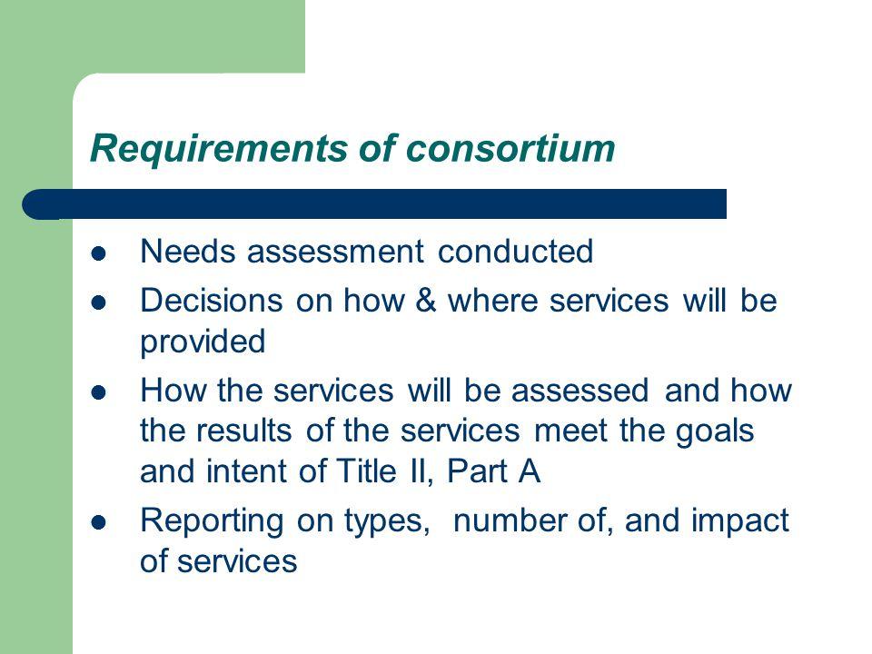 Requirements of consortium
