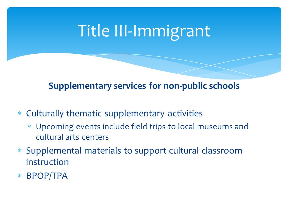 Supplementary services for non-public schools
