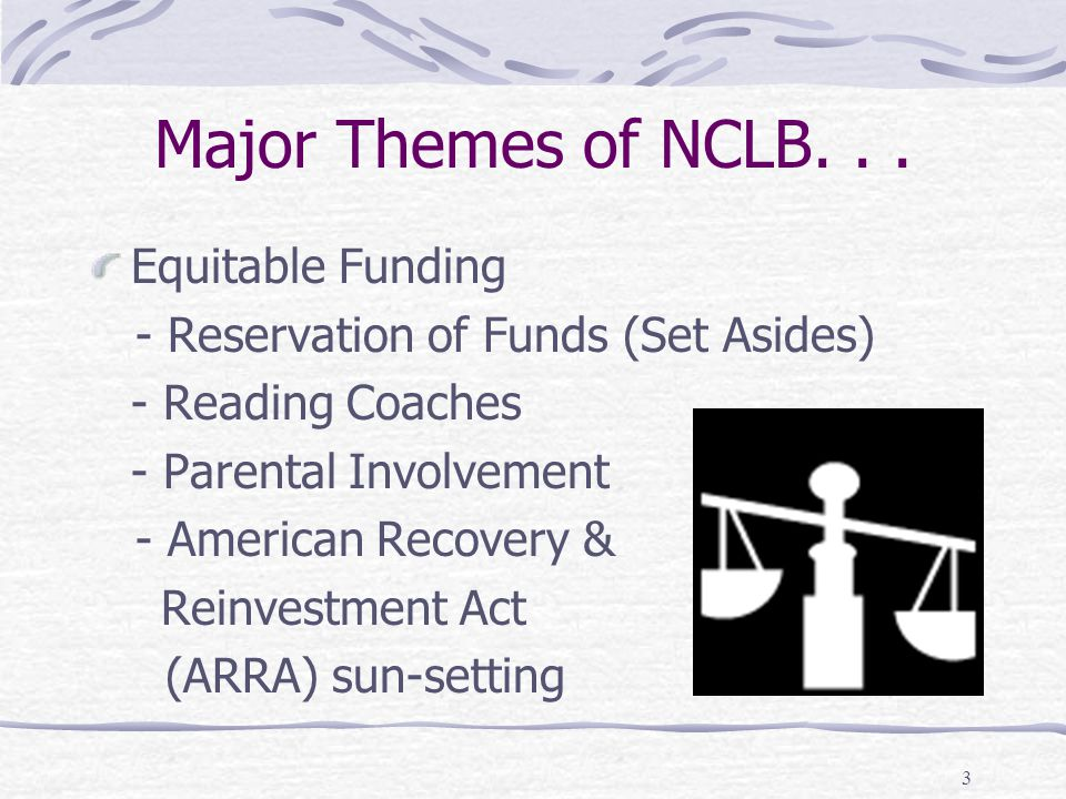 Major Themes of NCLB. . . Equitable Funding