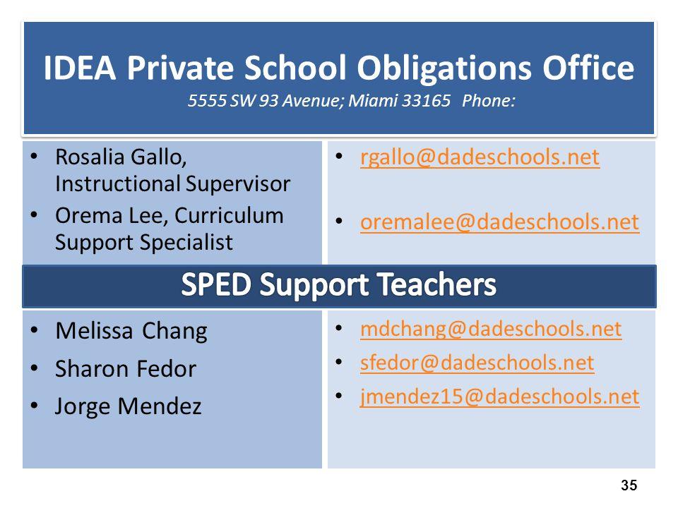 IDEA Private School Obligations Office 5555 SW 93 Avenue; Miami 33165 Phone: