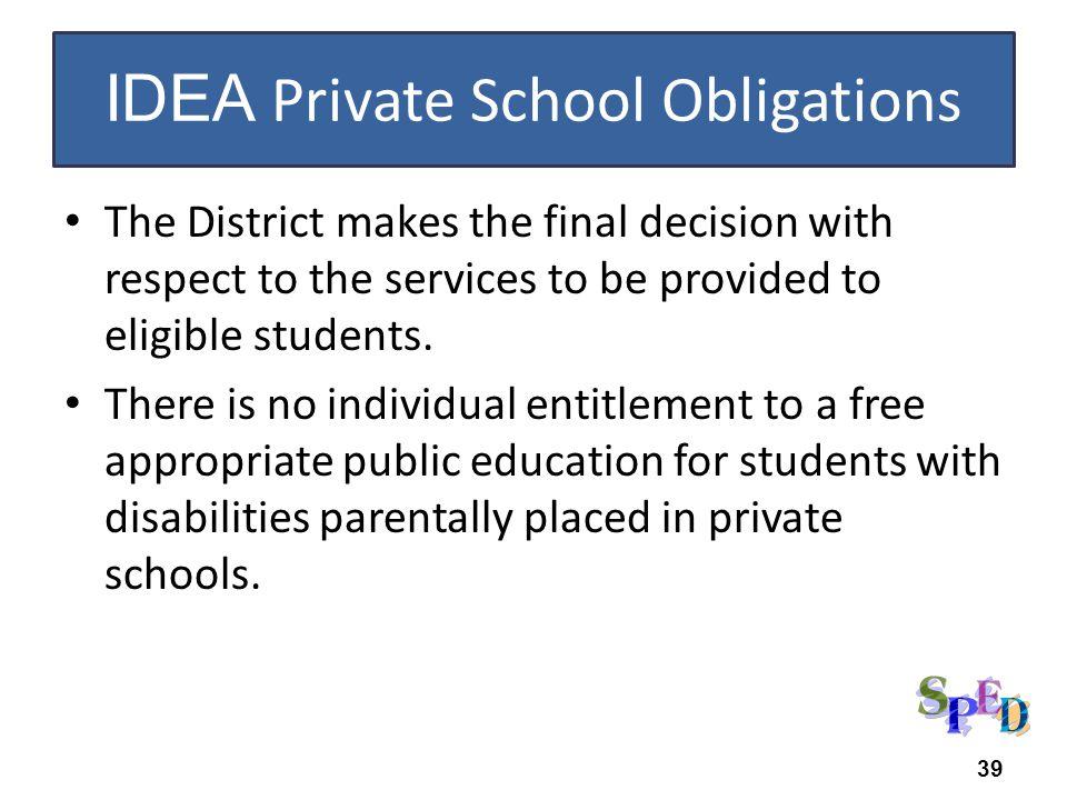IDEA Private School Obligations