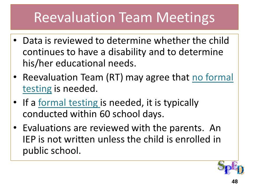 Reevaluation Team Meetings
