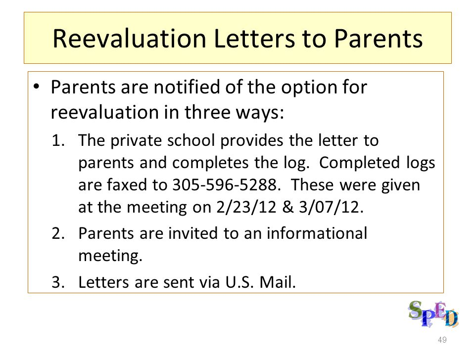 Reevaluation Letters to Parents