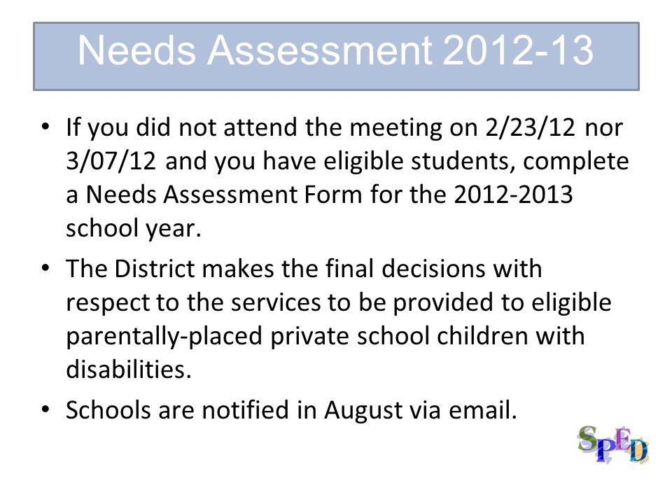 Needs Assessment 2012-13