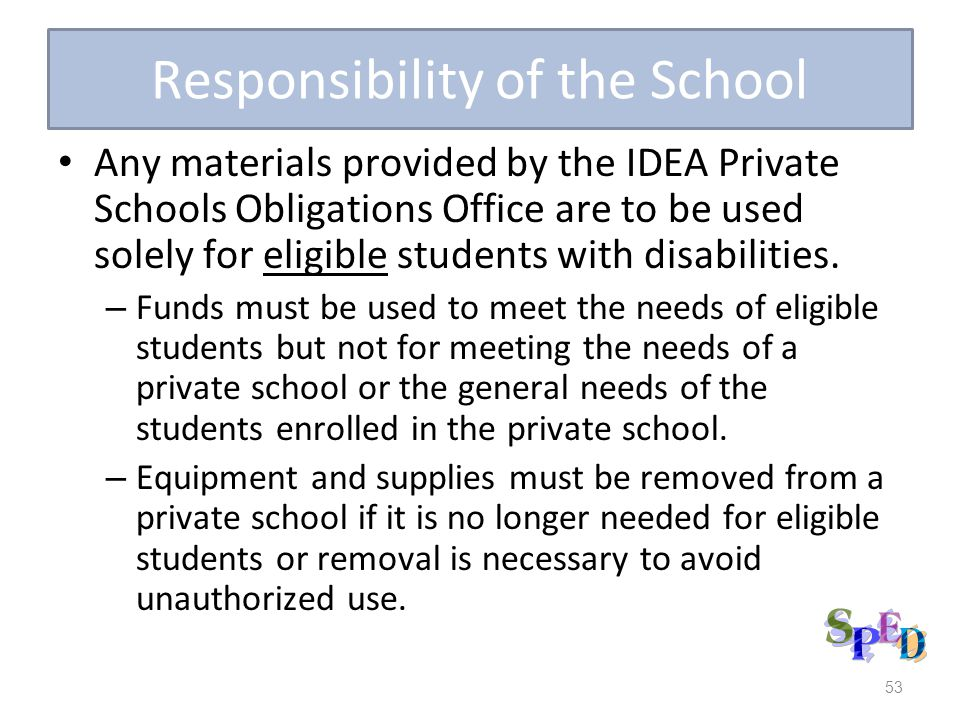 Responsibility of the School