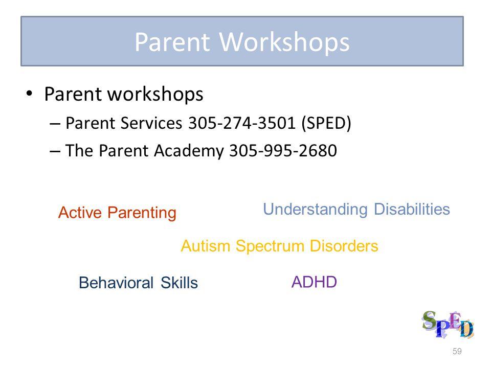 Parent Workshops Parent workshops Parent Services 305-274-3501 (SPED)