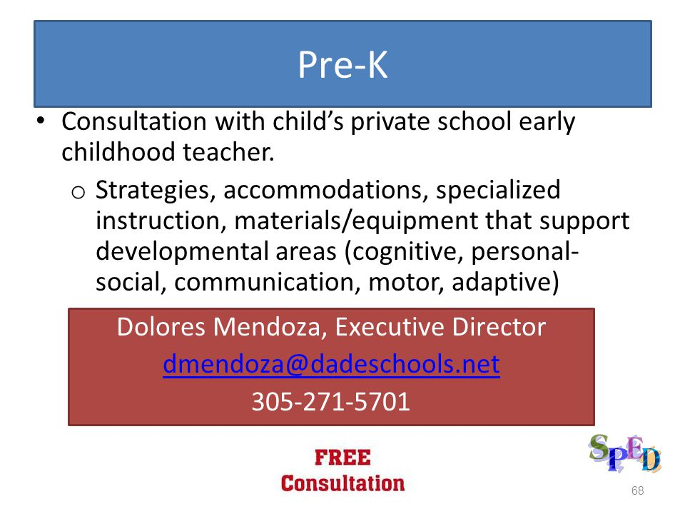 Pre-K Consultation with child's private school early childhood teacher.
