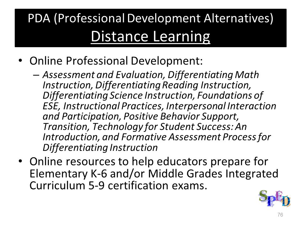 PDA (Professional Development Alternatives) Distance Learning