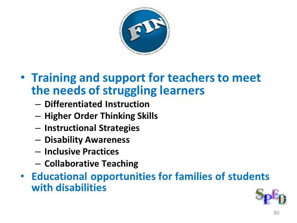 Training and support for teachers to meet the needs of struggling learners