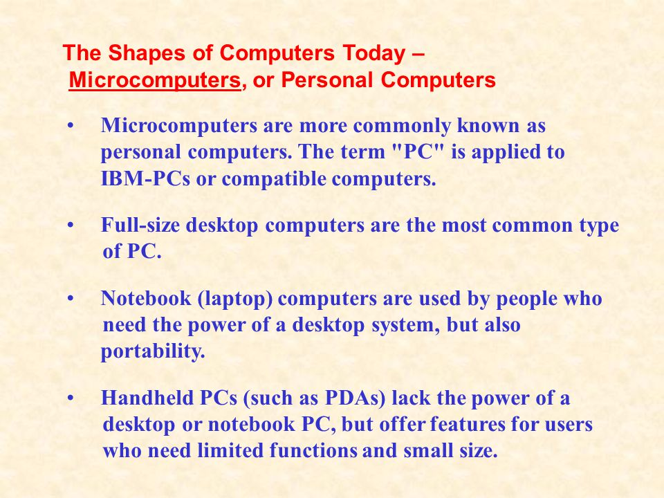 The Shapes of Computers Today –