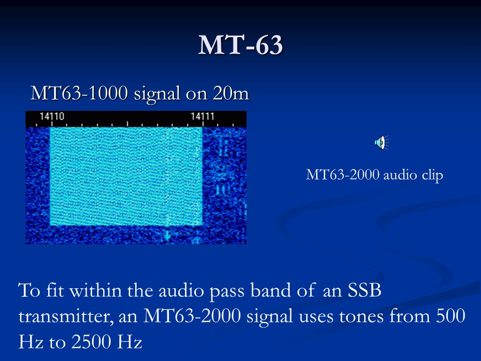 MT-63 MT63-1000 signal on 20m. MT63-2000 audio clip.