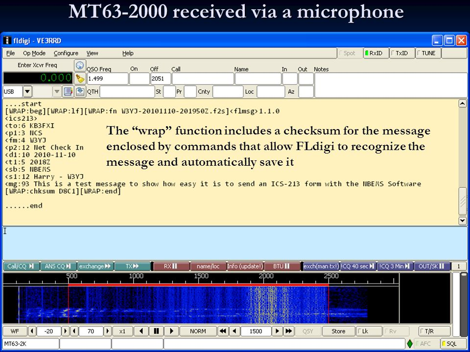 MT63-2000 received via a microphone