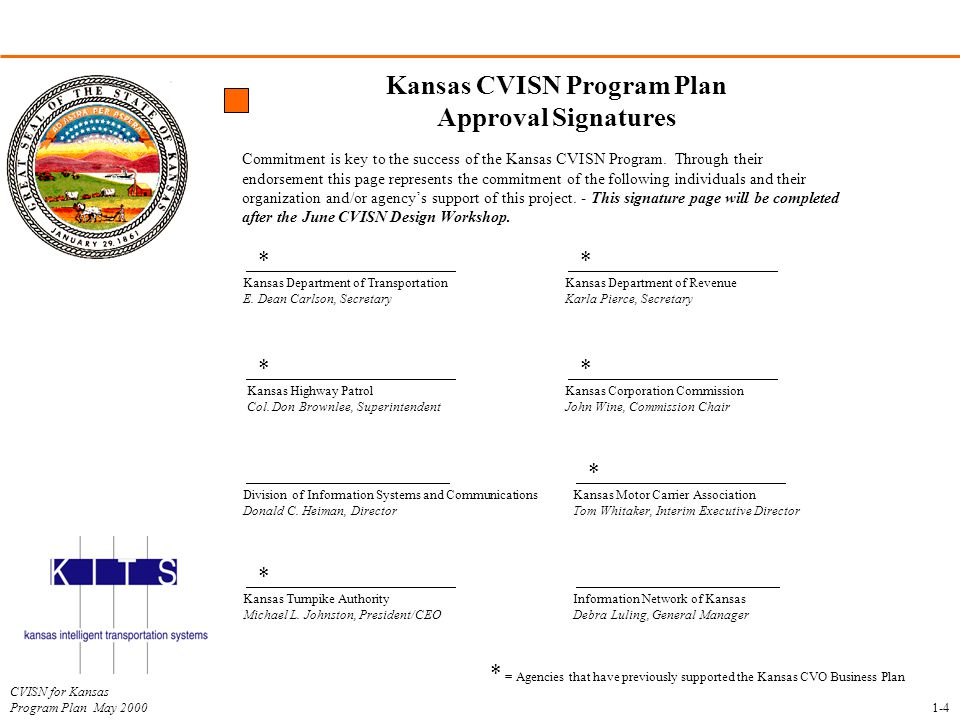 Kansas CVISN Program Plan Approval Signatures