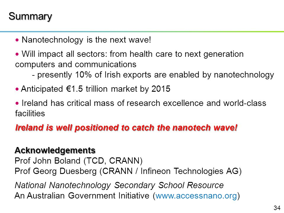 Summary  Nanotechnology is the next wave!