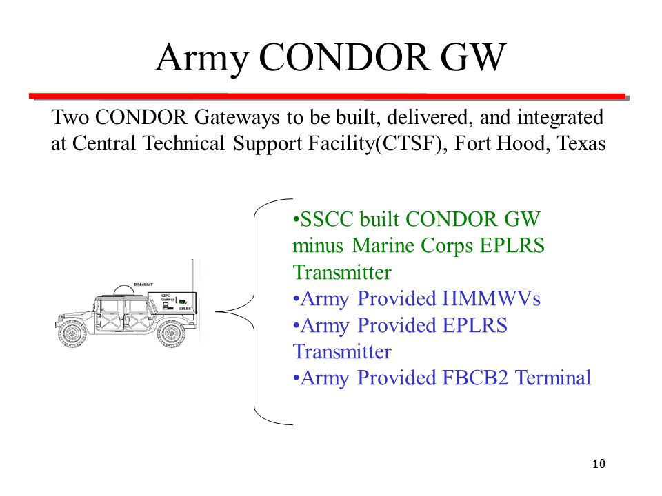 Army CONDOR GW Two CONDOR Gateways to be built, delivered, and integrated at Central Technical Support Facility(CTSF), Fort Hood, Texas.