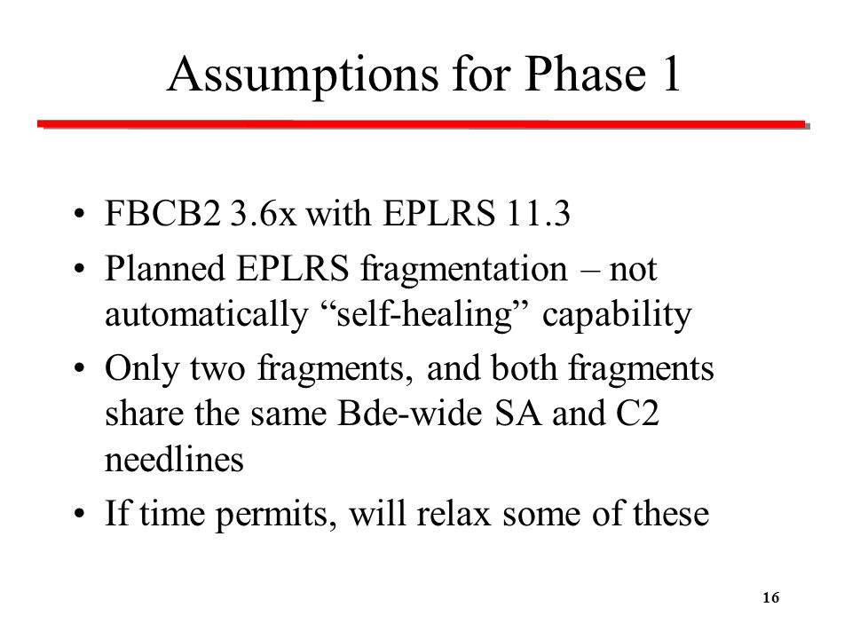 Assumptions for Phase 1 FBCB2 3.6x with EPLRS 11.3